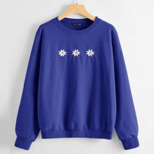 Daisy Embroidered Drop Shoulder Pullover