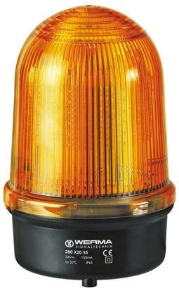 Werma 280 Yellow LED Beacon, 12 → 50 V dc, Steady, Surface Mount