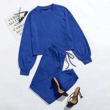 Drop Shoulder Solid Pullover & Sweatpants Set