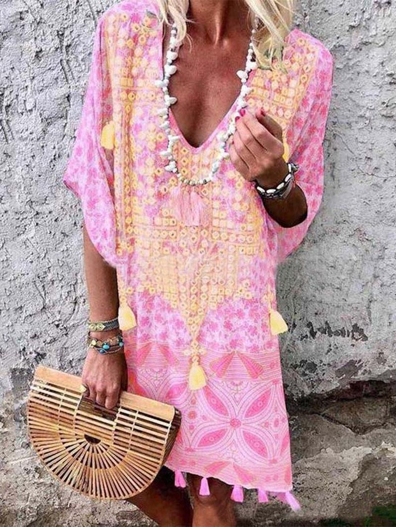 Ericdress Bohemian V-Neck Half Sleeve Tassel Summer Casual Dress