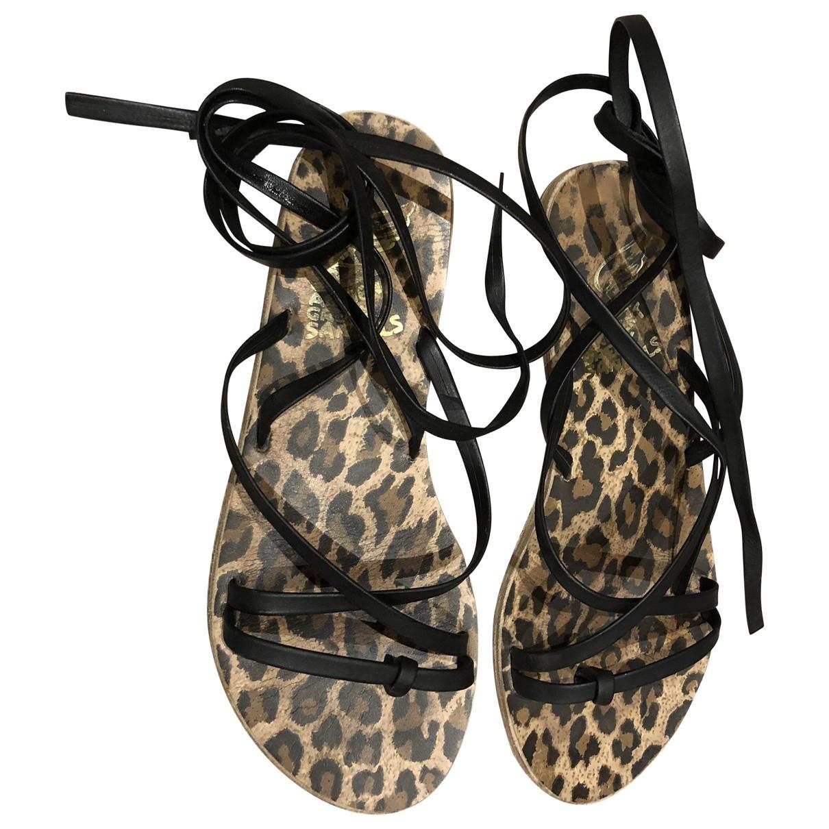 Ancient Greek Sandals - Sandales   pour femme en cuir - noir