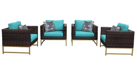 Barcelona BARCELONA-04g-GLD-ARUBA 4-Piece  Patio Set 04g with 4 Club Chairs - Beige and Aruba Covers with Gold