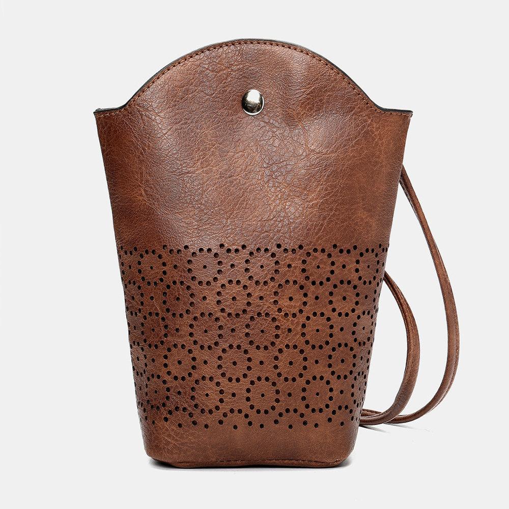 Women Hollow Out Irregular Little Phone Bag Casual Crossbody Bag Bucket Bag