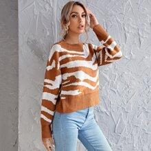 Drop Shoulder Zebra Striped Sweater