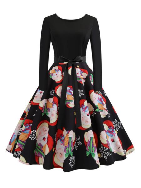 Milanoo Christmas Vintage Dress 1950s Jewel Neck Lace Up Layered Long Sleeves Woman\\'s Medium Christmas Pattern Rockabilly Dress