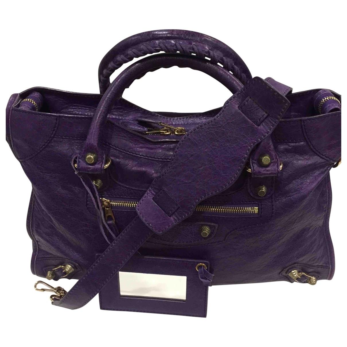 Balenciaga - Sac a main Work pour femme en cuir - violet