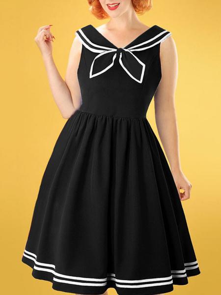 Milanoo 1950 Pin Up Girl Disfraz Mujer Marinero Vestido vintage