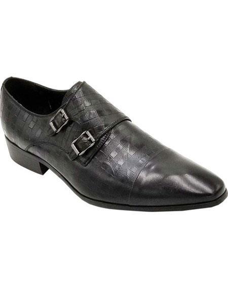 Mens Slip On Zota - Double Buckle Black Shoe