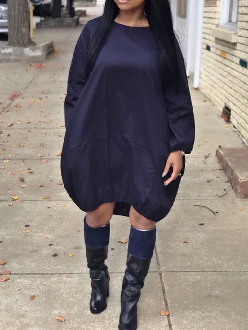 Ericdress Long Sleeve Knee-Length Round Neck Lantern Casual Dress