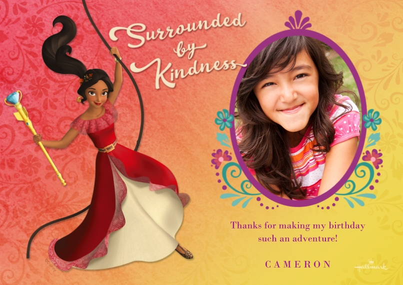 Kids Thank You Cards 5x7 Cards, Premium Cardstock 120lb, Card & Stationery -Surrounded by Kindness - Elena of Avalor