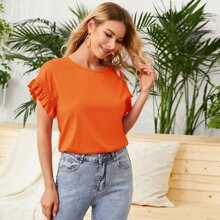 Neon Orange Guipure Lace Insert Ruffle Cuff Top