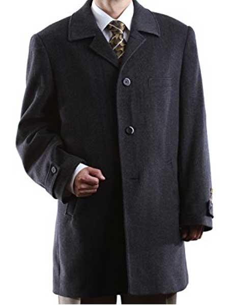 Mens Luxury Wool/Cashmere 3 Buttons Charcoal Notch Lapel Topcoat