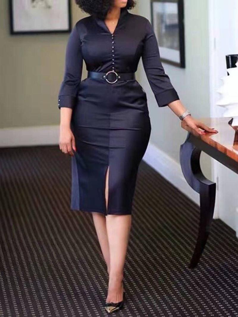 Ericdress V-Neck Belt Mid-Calf Pullover Regular Dress