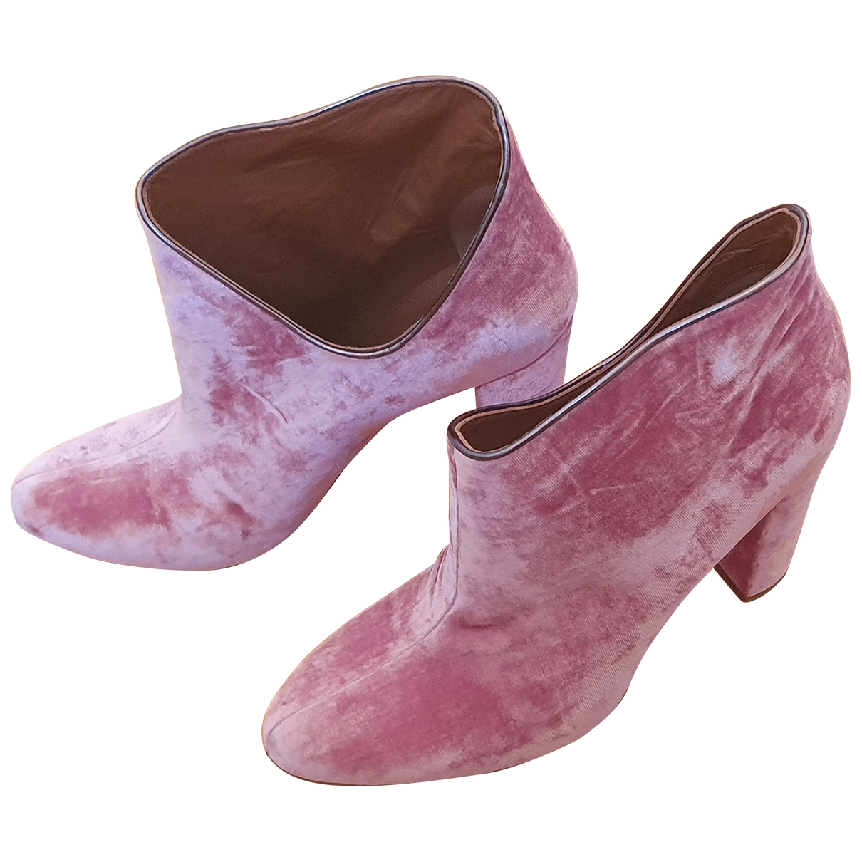 Malone Souliers \N Pink Velvet Ankle boots for Women 40 EU
