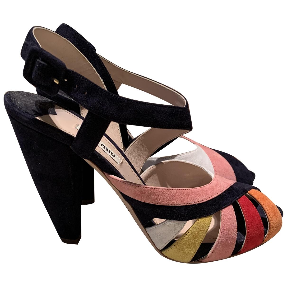 Miu Miu - Sandales   pour femme en suede - multicolore