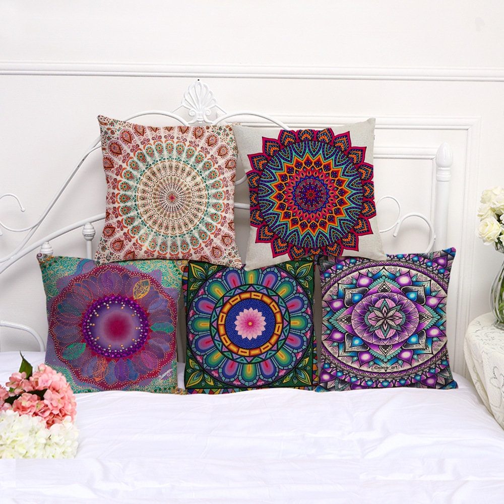 Mandala Pattern Printing Cotton Linen Sofa Cushion Pillow Cover Waist Cushion Cover