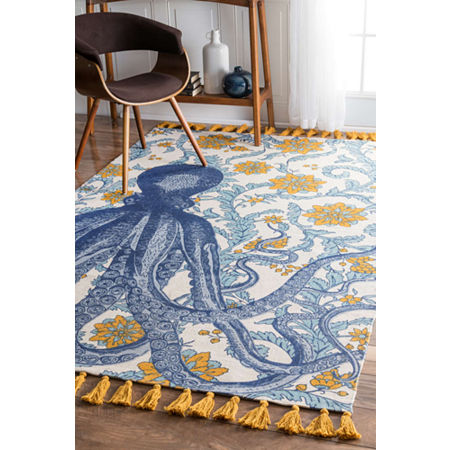 nuLoom Thomas Paul Flatweave Cotton Octopus Rug, One Size , Multiple Colors
