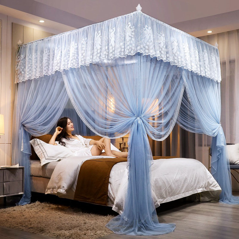 Court Style Three Door Thick Stainless Steel Bracket Encryption Square Roof Mosquito Net Telescopic Palace Bed Nets