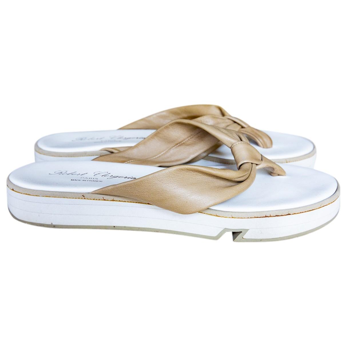 Robert Clergerie \N Beige Leather Sandals for Women 40.5 EU