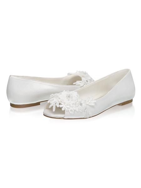 Milanoo Flat Wedding Shoes Satin Peep Toe Bridal Shoes With Flowers
