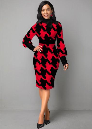 Christmas Rosewe Holiday Dress Bow Collar Houndstooth Print Lantern Sleeve Dress - XS