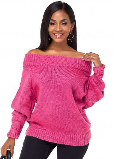 Rosewe Women Rose Red Off The Shoulder Long Sleeve Winter Sweater Solid Color Tunic Casual Pullover Jumper - L