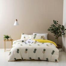 Set de cama con estampado de piña sin relleno