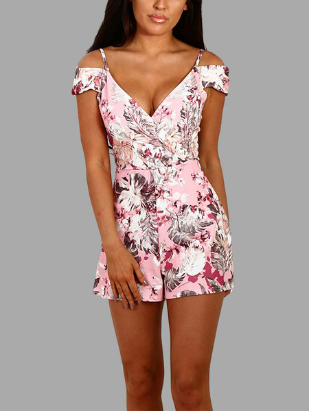 Yoins Baby Pink Random Floral Print Cold Shoulder Wrap Playsuit