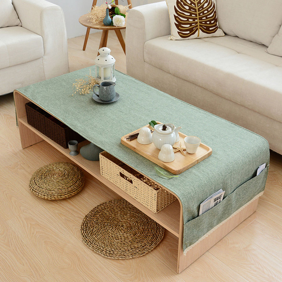Rectangle Blending Home Use Plain Pattern Multifunction Table Cloth