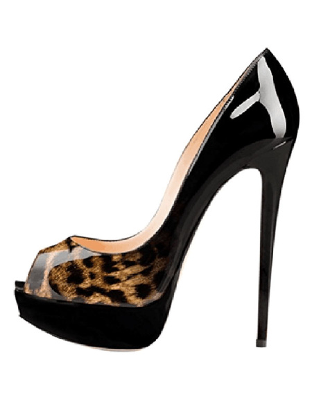 Milanoo Women Sexy Dress Shoes Peep Toe Platform Ombre Two Tone Stiletto High Heel Pumps