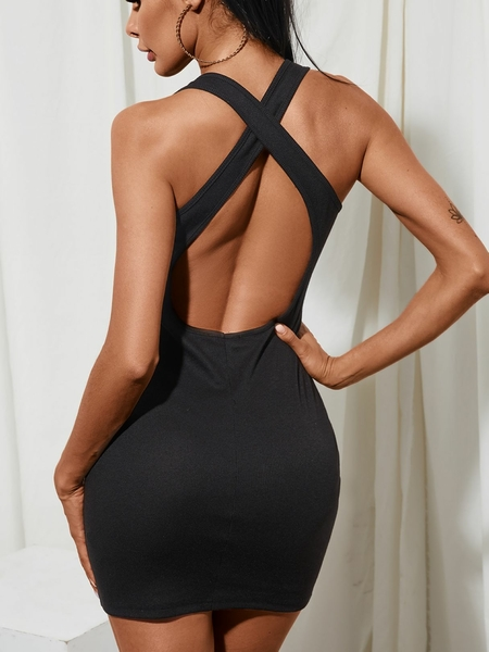 YOINS Black Criss-cross Backless V-neck Sleeveless Dress