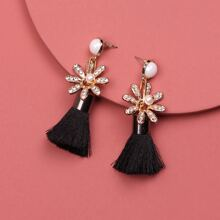 1 Paar Ohrringe mit Blumen & Quasten Dekor