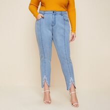 Plus Light Wash High Stretch Embroidered Skinny Jeans