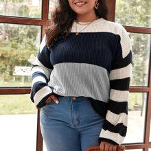 Plus Color-block Striped Drop Shoulder Sweater