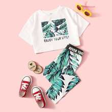 Maedchen T-Shirt mit vermischtem Muster und Leggings Set