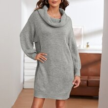 Drop Shoulder Ribbed Knit Sweater Dress