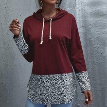 Hoodie mit Leopard Muster, Farbblock und Kordelzug
