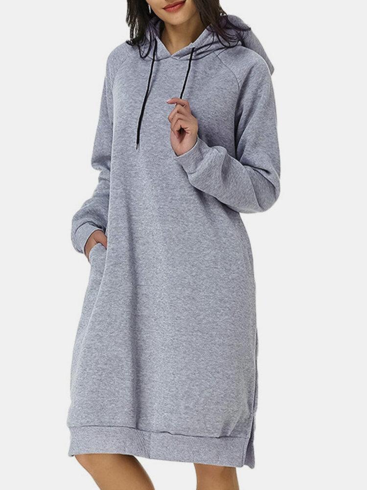 Casual Solid Color Hooded Pocket Long Sleeve Dress Long Hoodie