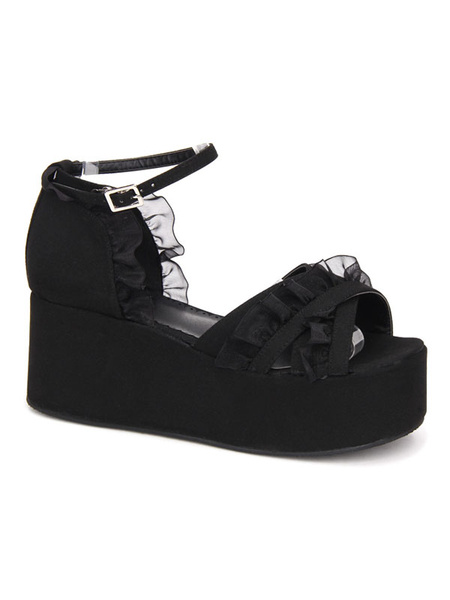 Milanoo Gothic Lolita Sandals Ruffle Ankle Strap Platform Wedge Heel Black Lolita Shoes