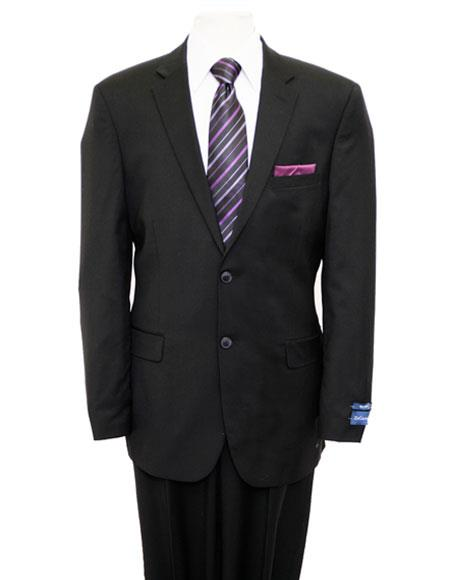 Men's 2 Buttons Solid Black Single Breasted Notch Lapel Suit