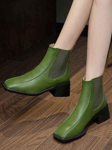 Milanoo Women Ankle Boots Black Cowhide Square Toe Chunky Heel Square Toe Women\'s Ankle Boots