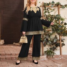 Plus Embroidered Applique Bell Sleeve Peplum Top and Pants Set