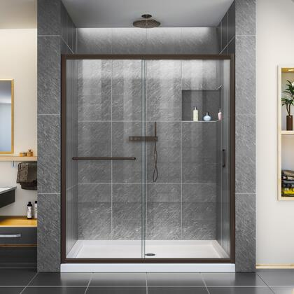 DL-6970R-06CL Infinity-Z 30 D X 60 W X 74 3/4 H Clear Sliding Shower Door In Oil Rubbed Bronze And Right Drain White