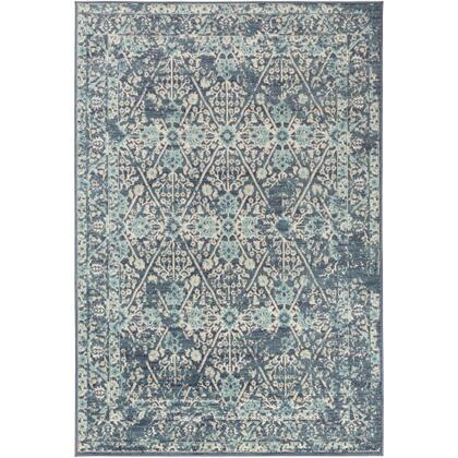 City CIT-2368 710 x 103 Rectangle Traditional Rug in Charcoal  Aqua  Beige