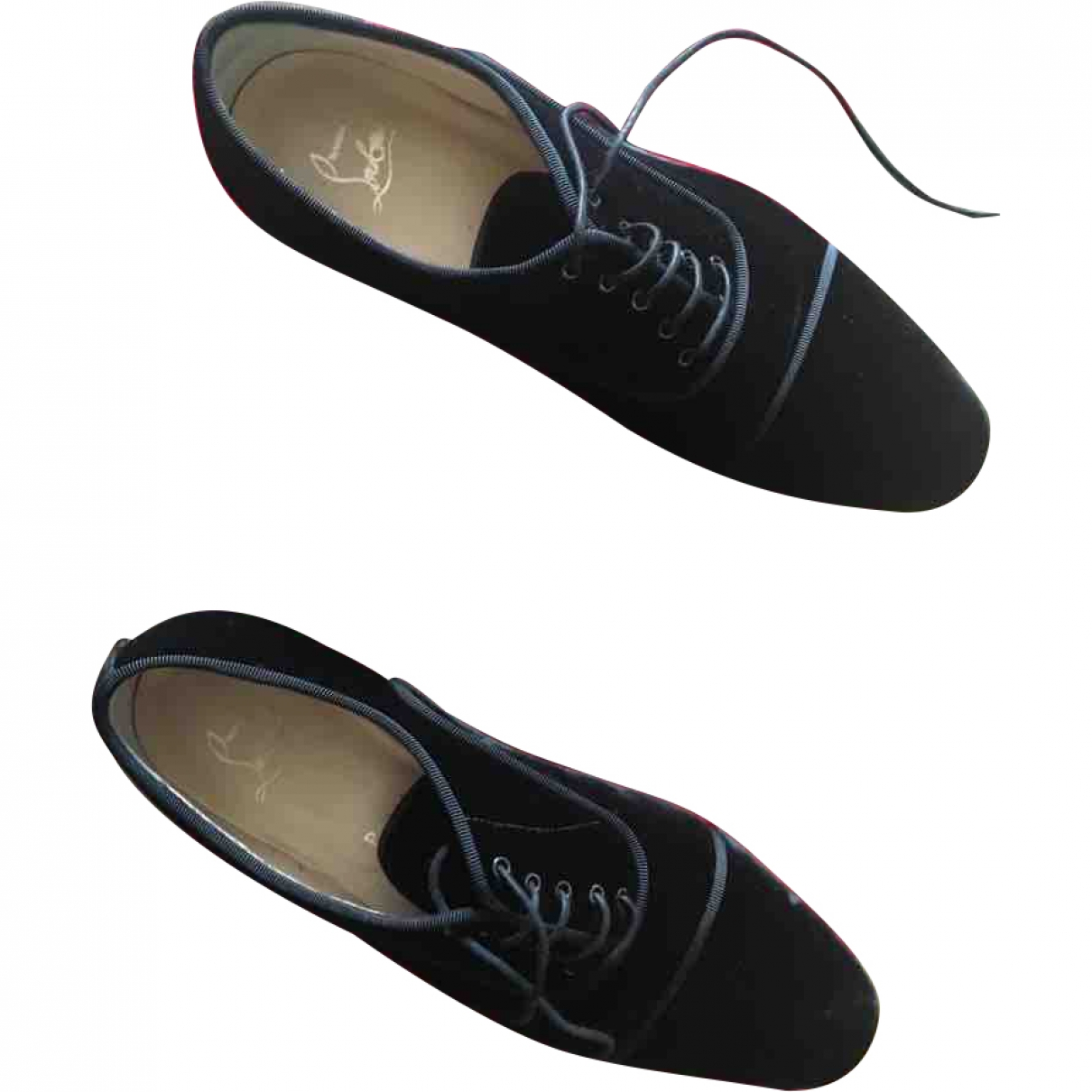 Christian Louboutin \N Black Velvet Lace ups for Women 37.5 EU