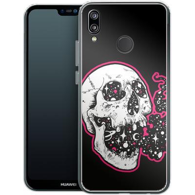 Huawei P20 Lite Silikon Handyhuelle - Space Skull Black von Kreatyves