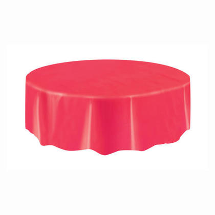 Party Plastic Table Cover Round, Red 84