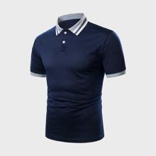 Maenner Kontrast Polo Shirt