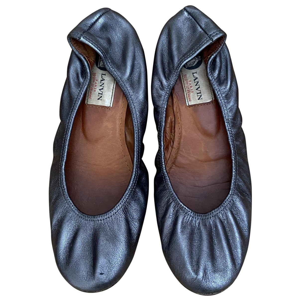 Lanvin \N Anthracite Leather Ballet flats for Women 37 EU