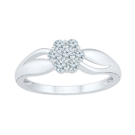 Womens 3/8 CT. T.W. Genuine White Diamond 10K White Gold Cluster Cocktail Ring, 7 , No Color Family